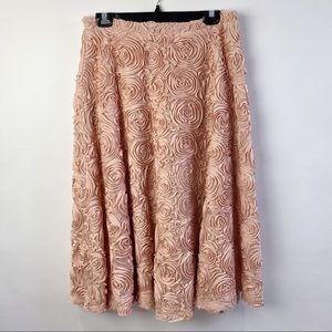 Anthropologie HD floral blush skirt